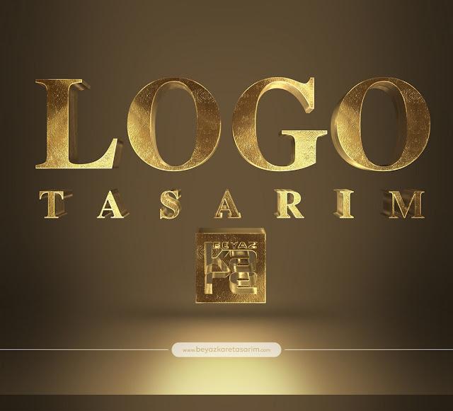 3D logo tasarımı gold kabartma