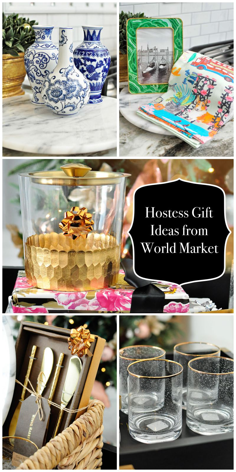Gift ideas for the hostess in your life from World Market- ginger jars, cocktail glasses, kitchen towels, ice bucket and more. So glam and affordable!