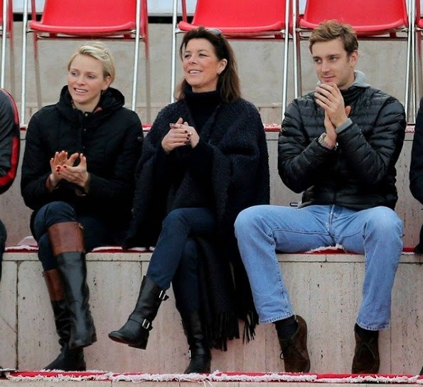 Princess Charlene,Princess Caroline and Pierre Casiraghi attended Princess Sarah's Christmas ice skating show