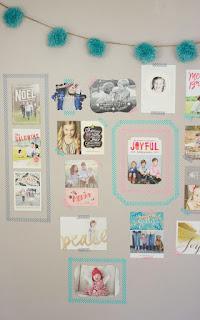 Washi tape Christmas card display