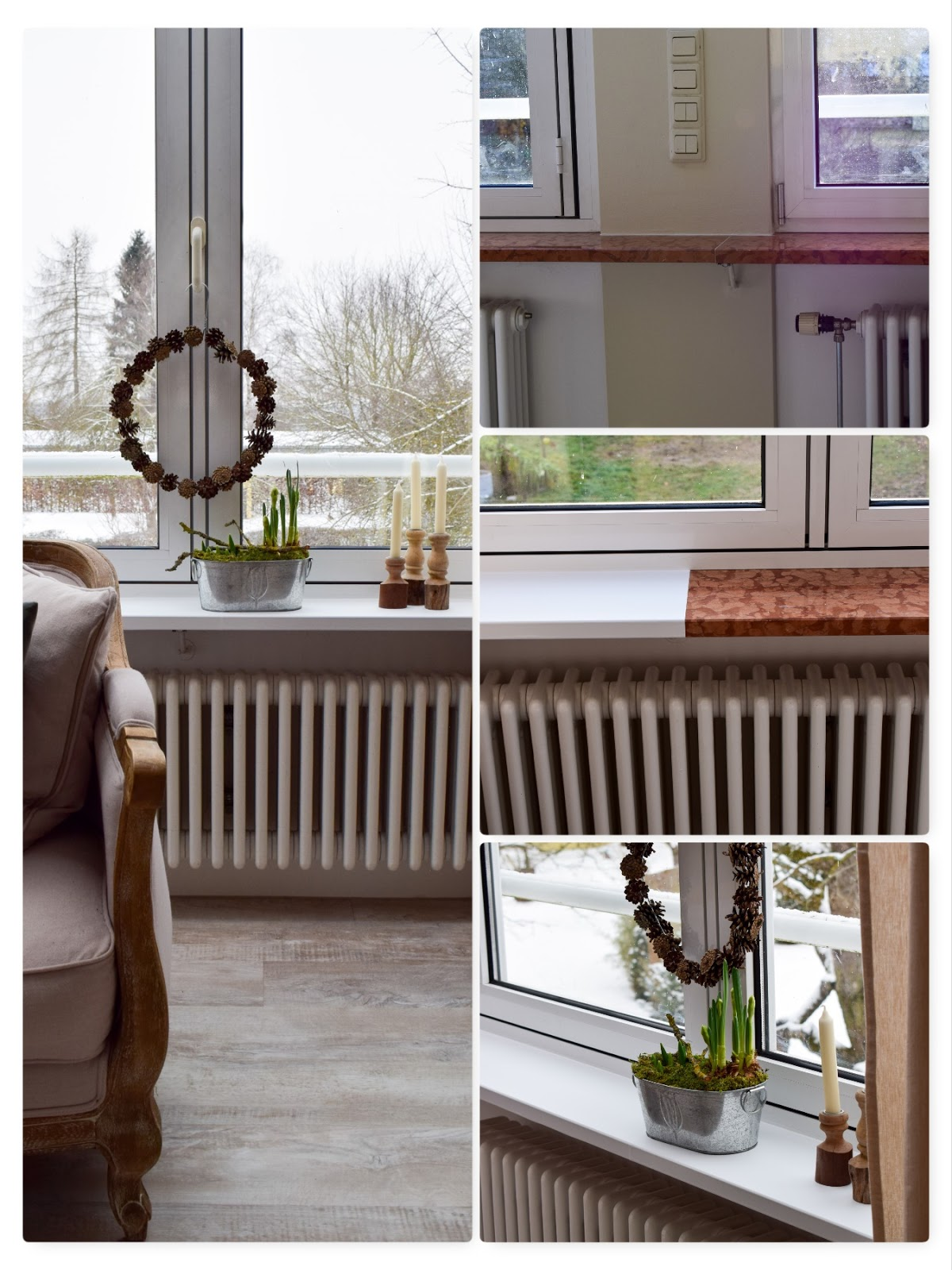 Vorher Nachher Renovierung von Fenstersims mit selbstklebender Folie. Einfach selbermachen renovieren Marmor Folie Klebefolie. Aus Alt mach NEU