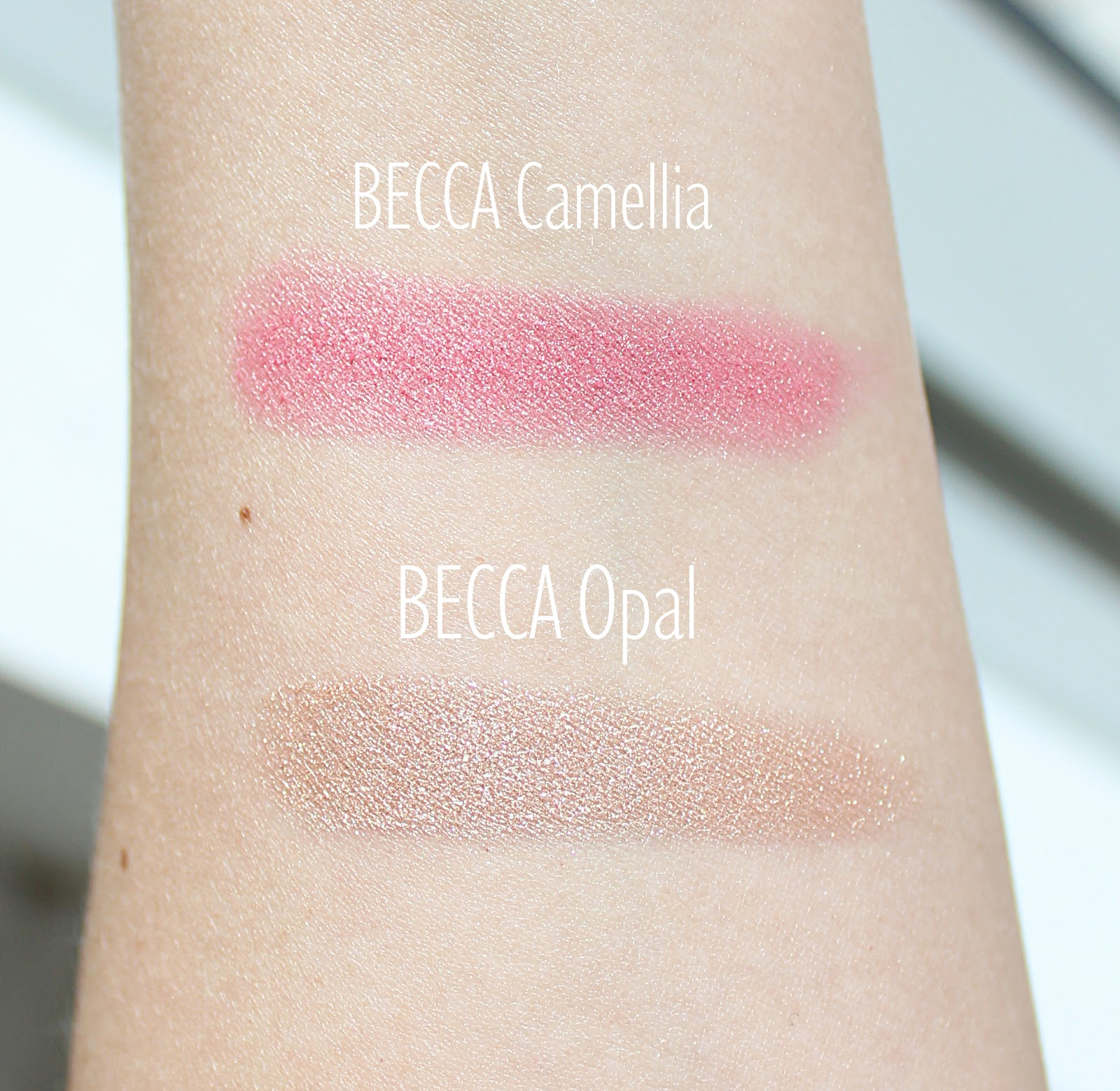 BECCA Opal and Camellia Swatches and Review