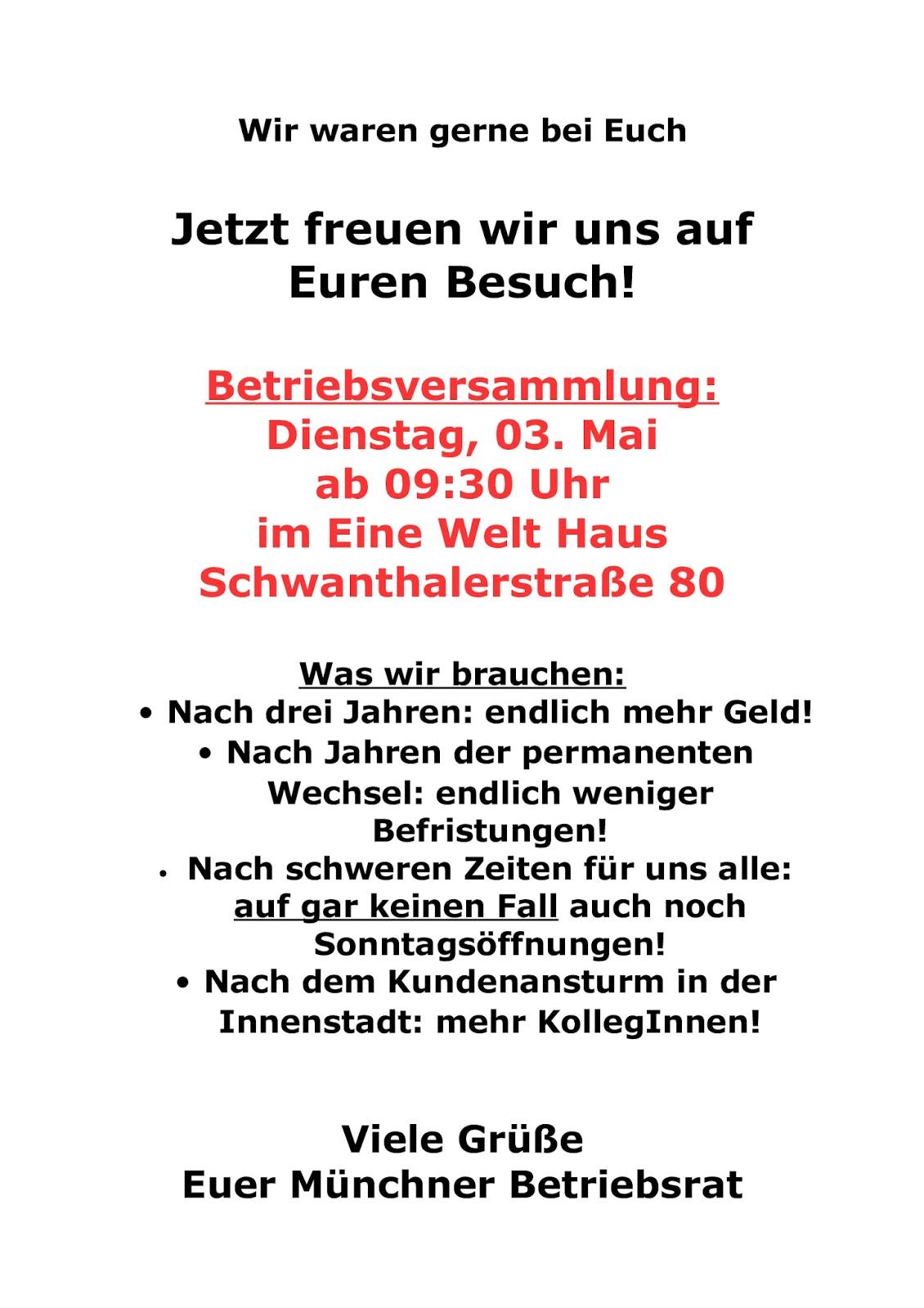 hugendubel verdi infoblog: betriebsversammlung in münchen, Einladung