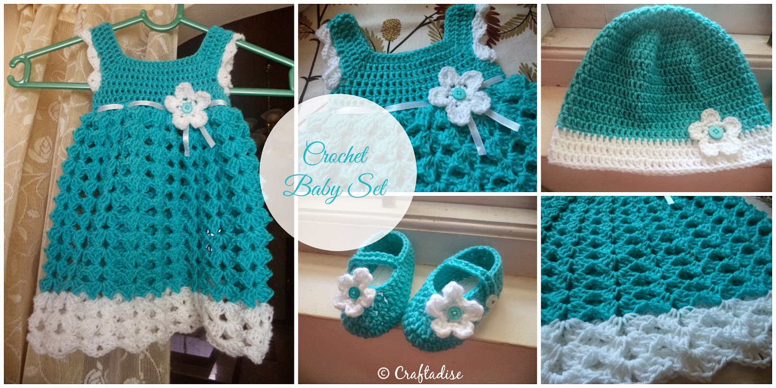 My first Crochet Baby Dress with Matching Hat and Booties