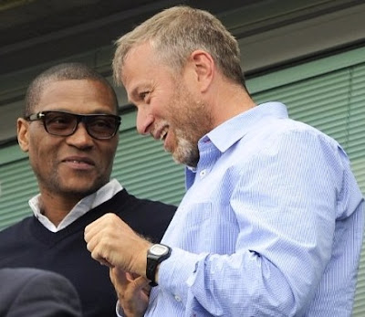 chelsea owner Roman Abramovich Chelsea technical director Michael Emenalo discussing