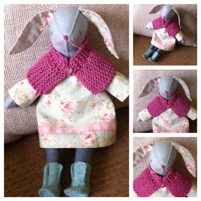 hand sewn bunny doll with knit shall