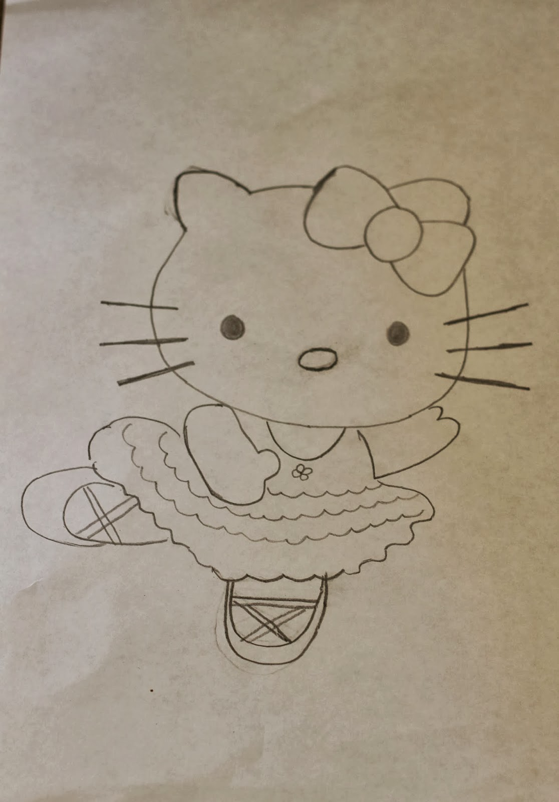 Ruchi making of ballerina hello kitty cake for Hello kitty cut out template