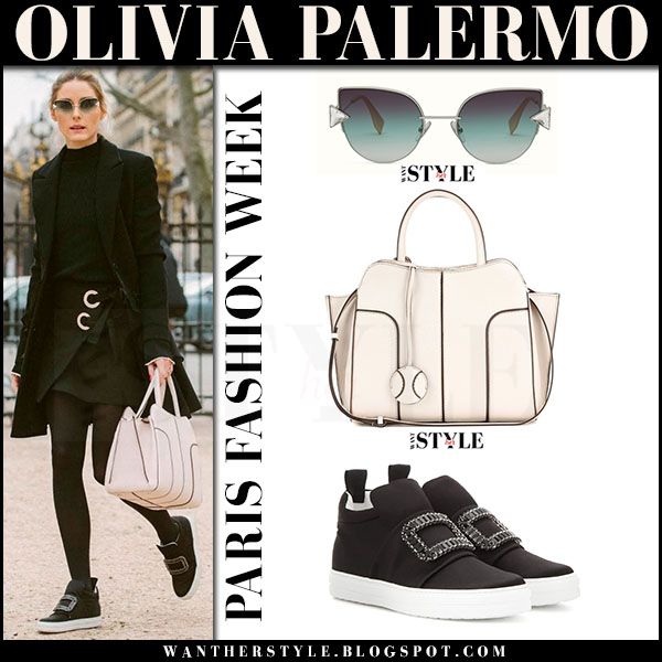 Olivia Palermo in black coat, black mini skirt, fendi rainbow sunglasses, embellished sneakers roger vivier and cream tote tods sella what she wore paris fashion week 2017