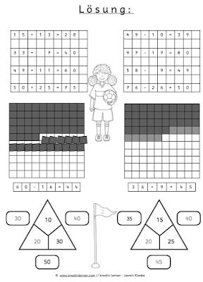Lösungskopien und Arbeitsblätter für Rechenspiele im Mathematikunterricht der zweiten Klasse.