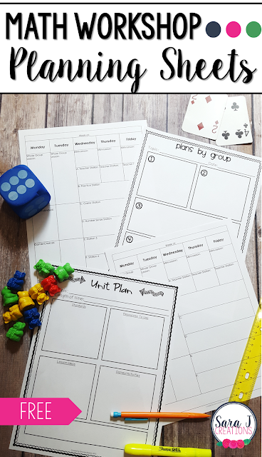 Free math workshop planning sheets along with a free 5 day email series to help you get math workshop set up in your elementary classroom