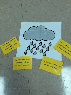 a visual of a small problem rain and clouds with students problem cards placed around it.