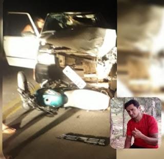Acidente entre carro e moto deixa uma pessoa gravemente ferida em Nova Palmeira