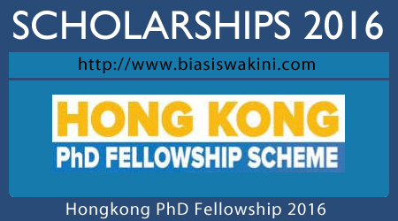 Hongkong PhD Fellowship Scheme 2016