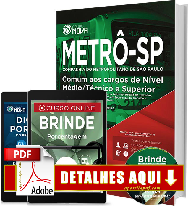 Apostila METRÔ SP 2016 Nível Médio Técnico Superior Impressa