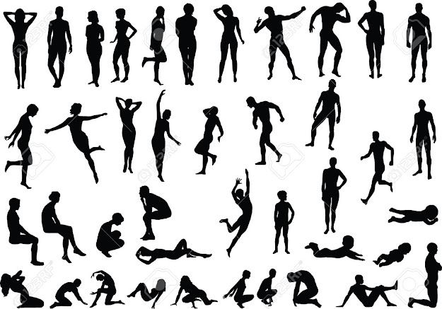 Collection Of Naked Human Body Vector Silhouettes Stock Vector