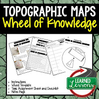 Topographic Maps Activity, World Geography Activity, World Geography Interactive Notebook, World Geography Wheel of Knowledge (Interactive Notebook)