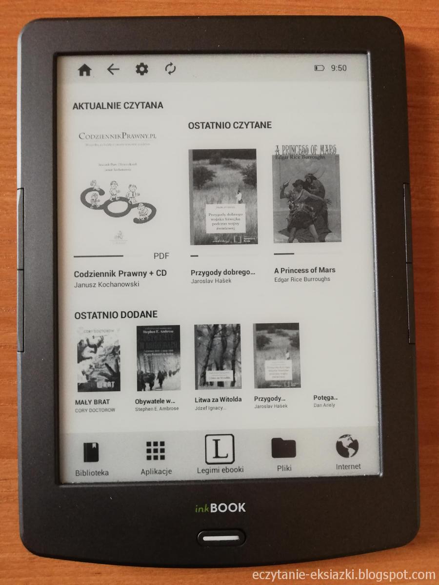 InkBOOK Classic 2 - ekran startowy