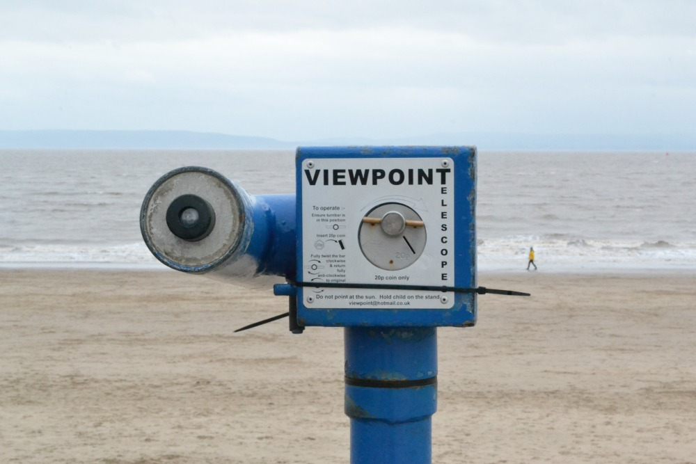 vintage beach seaside viewfinder viewpoint barry island wales