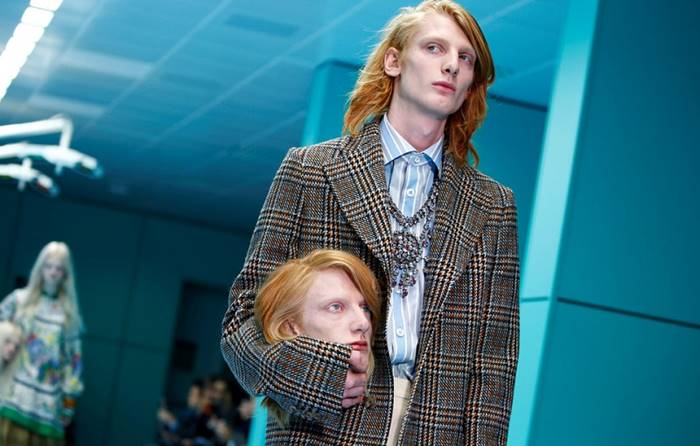 Model brand Gucci during the show of the autumn-winter collection of 2018 at Milan Fashion Week. Italy, 21 February. Posted by: Tony Gentile