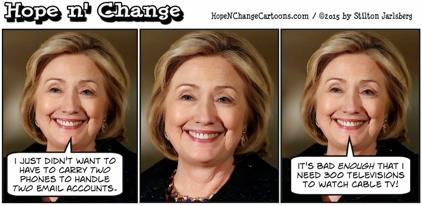 obama, obama jokes, political, humor, cartoon, conservative, hope n' change, hope and change, stilton jarlsberg, hillary, clinton, email, scandal