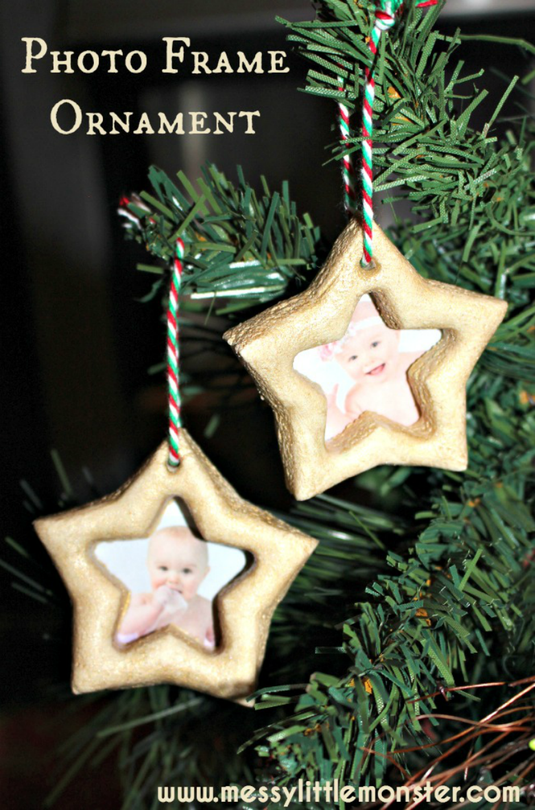 salt dough ornaments - salt dough star frame Christmas ornaments