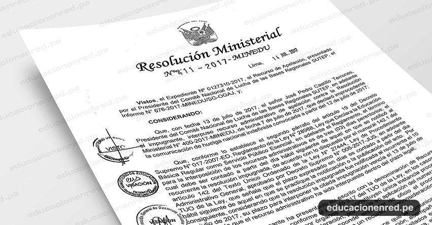 R. M. N° 411-2017-MINEDU - Declaran infundado recurso de reconsideración presentado por el presidente de comité nacional de lucha de las bases regionales SUTEP, en atención a los fundamentos expuestos en la parte considerativa de la presente resolución - www.minedu.gob.pe