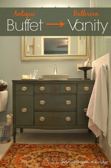 Bathroom Vanity Made From Dining Room Buffet