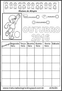 Calendário outubro 2016 colorir