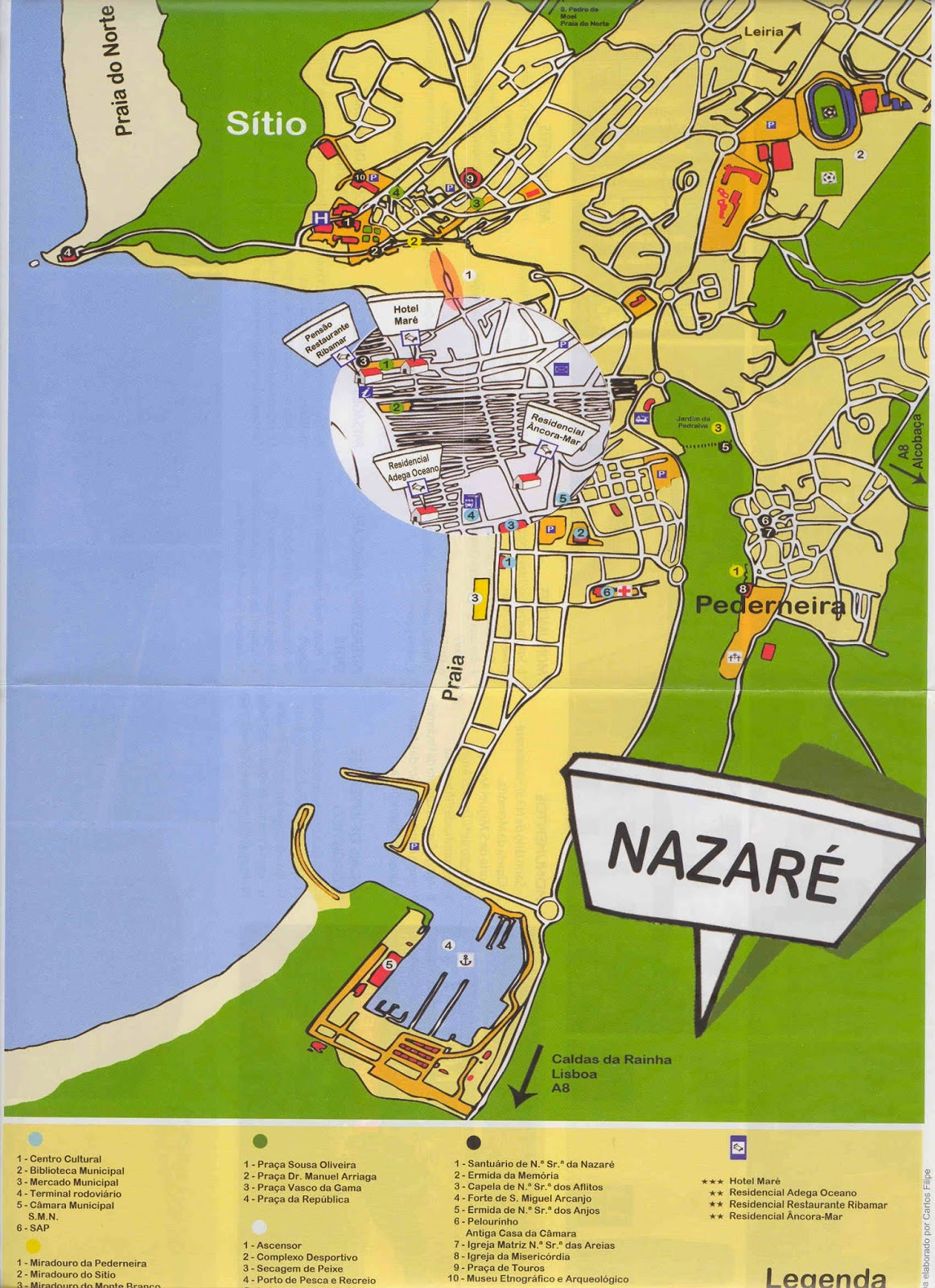 mapa de portugal nazaré Mapas de Nazaré   Portugal | MapasBlog mapa de portugal nazaré