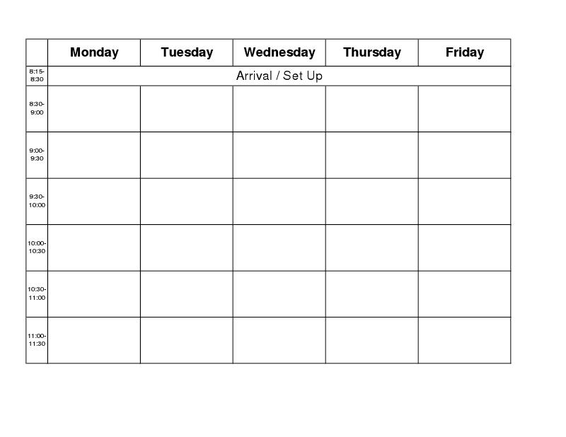 monday thru friday schedule template koni polycode co