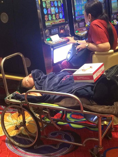 Mother Brings Her Disabled Daughter Inside The Casino Exposing Her To Smoke And Noise As She Was Too Busy Gambling!
