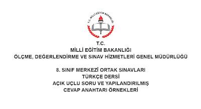 8. Sınıf Türkçe TEOG Açık Uçlu Soru ve Cevap Anahtarı Örneği 2017-2018