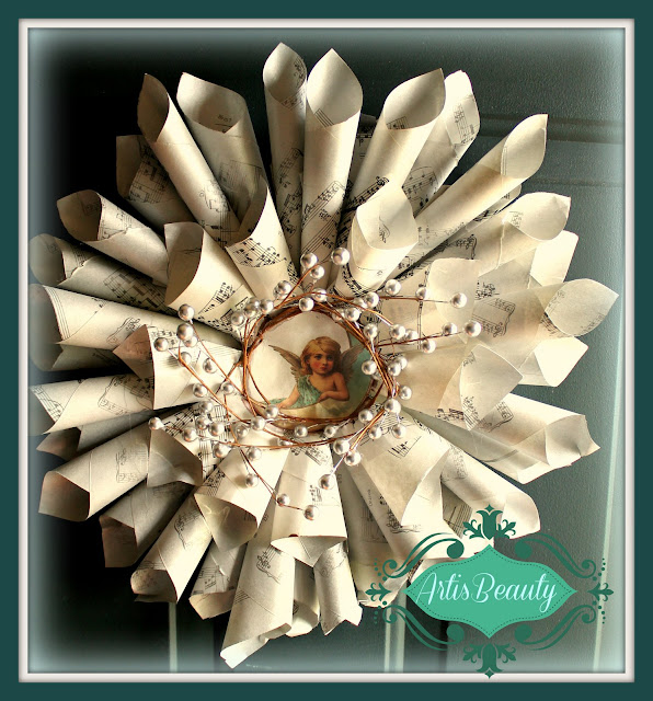 copied vintage sheet music craft old cd hot glue gun graphics fairy christmas holiday wreath decoration