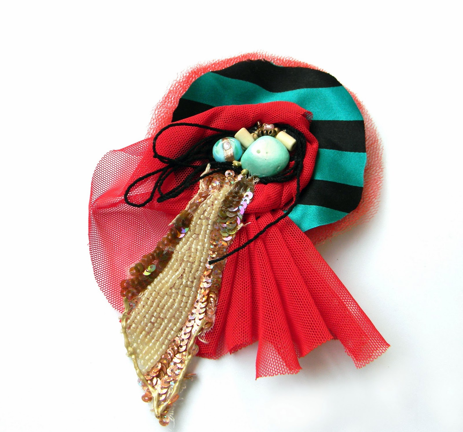 Textile Fashion Brooch with Beads Applique and Embroidered Sequins in Aqua Blue and Fire Red