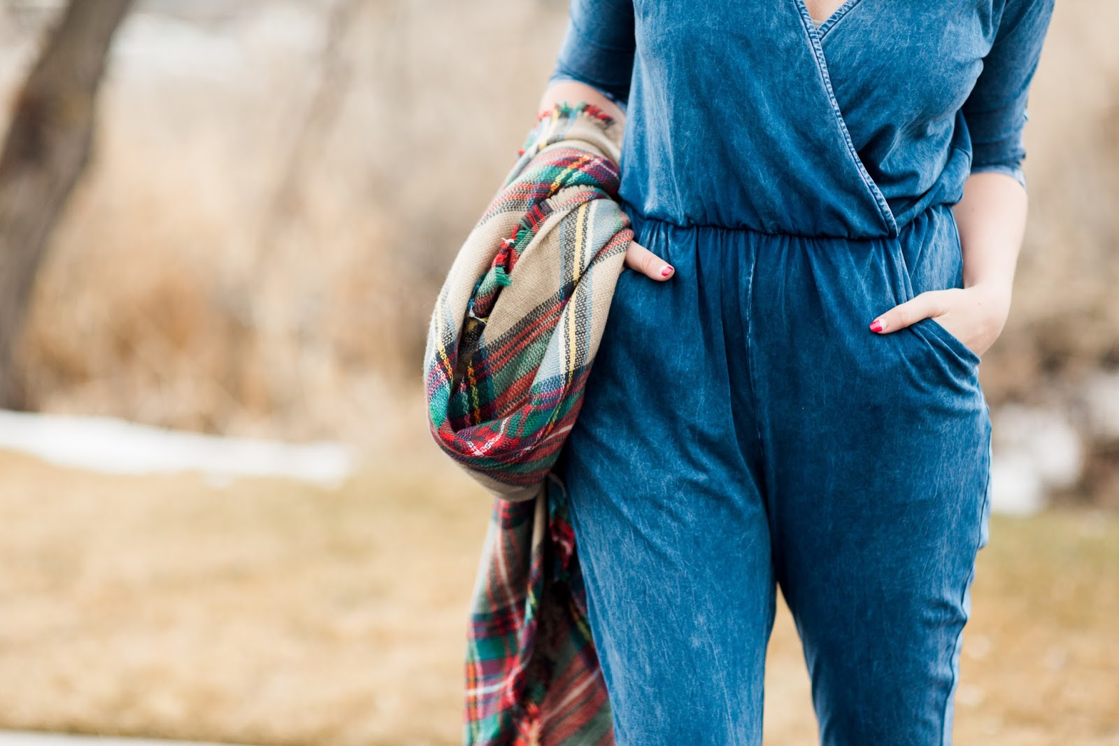 Jumpsuit, Plaid Scarf