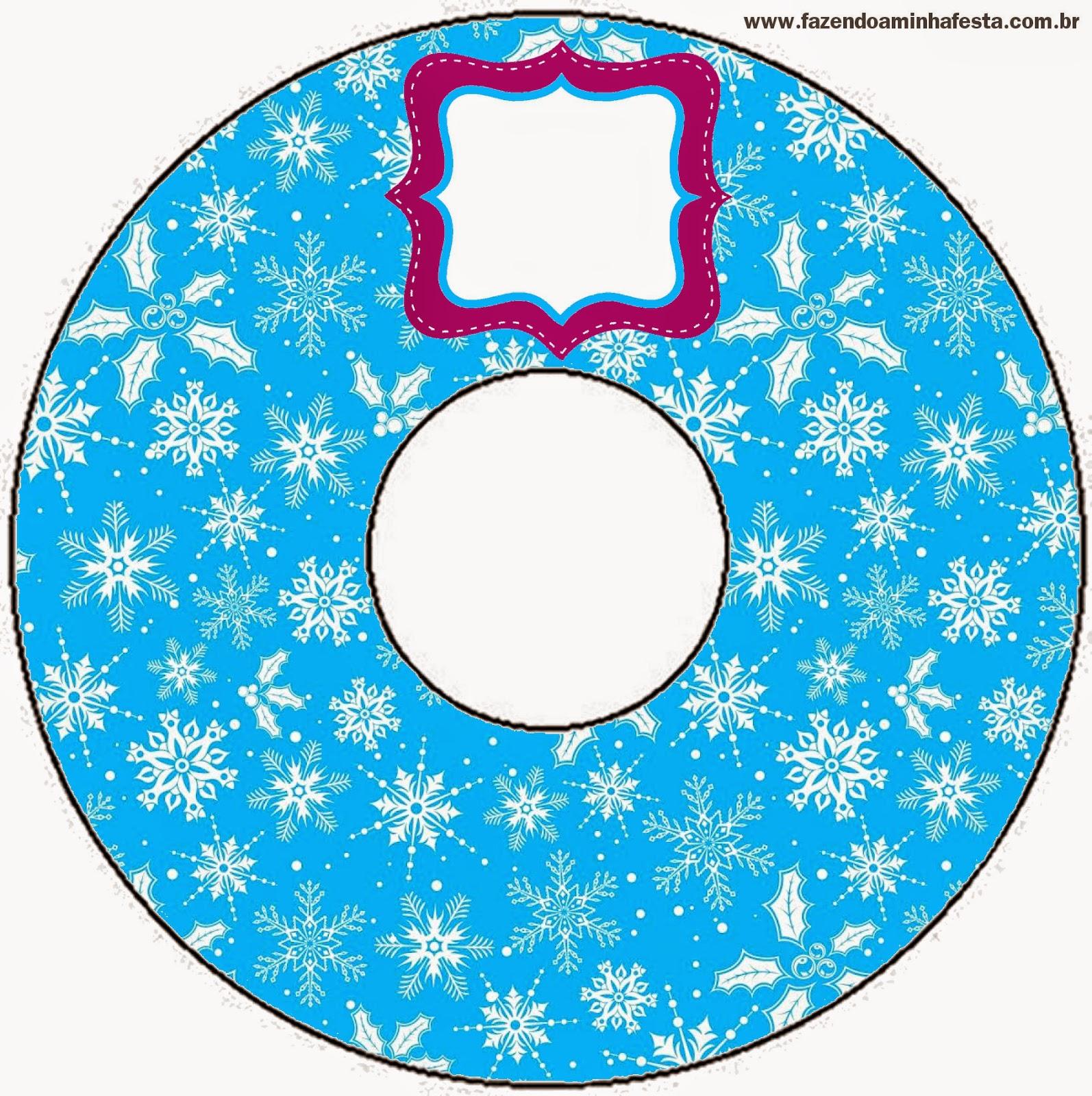 Etiqueta para CD´s de Frozen en Morado y Celeste para Navidad para imprimir gratis.