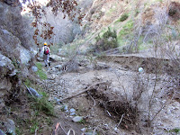 Trail damage en route to a work project on Fish Canyon Trail, Angeles National Forest