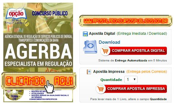 Apostila Concurso AGERBA 2016 Especialista em Regulação PDF Impressa