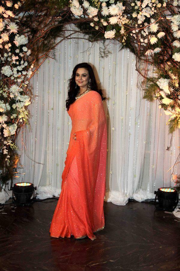 Preity Zinta Latest Hot Photos In Orange Saree