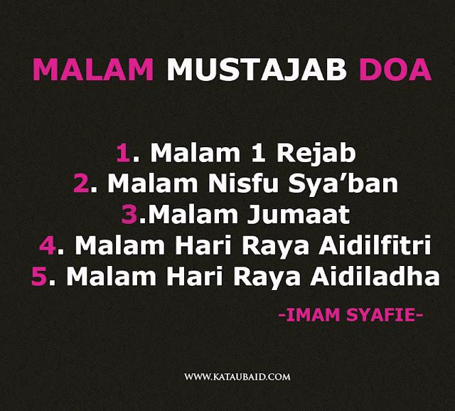 5 MALAM MUSTAJAB BERDOA MENURUT IMAM SYAFIE !