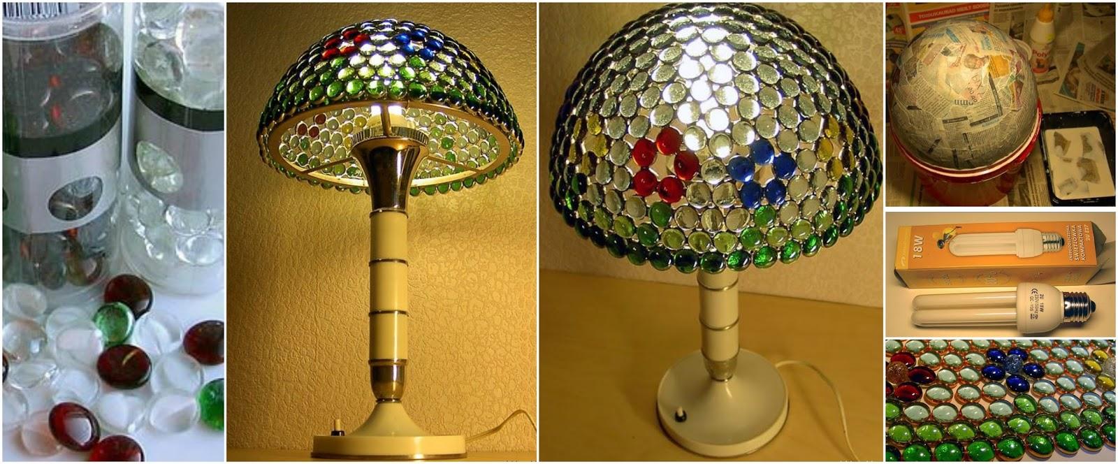 Aprende c mo hacer una lampara de mesa con gemas de vidrio - Como hacer una lampara de mesa casera ...