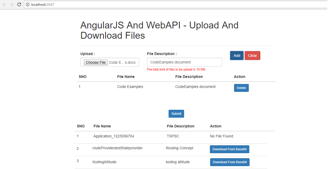 Upload and Download Functionality In AngularJS And WebApi By