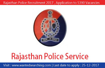 Rajasthan Police Recruitment 2017 , Application to 5390 Vacancies for Constable Posts