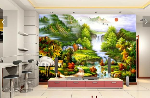 Tranh dán tường 3d sơn dầu cảnh làng quê