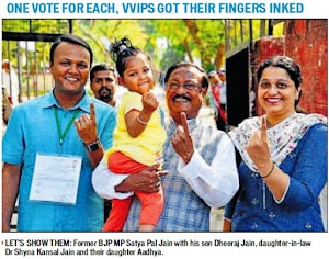 'One vote for each - Let's Show Them': Former BJP MP Satya Pal Jain with his son Dheeraj Jain, daughter-in-law Dr. Shyna Kansal Jain and their daughter Aadhya