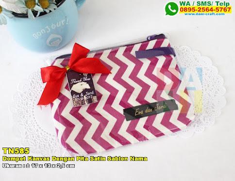 Dompet Kanvas Dengan Pita Satin Sablon Nama