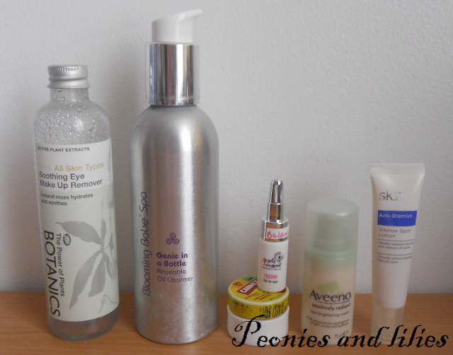 Botanics soothing eye make up remover, Blooming babe genie in a bottle, Angela Langford balanced and beautiful face oil, Aveeno positively radiant eye brightening cream, Carmex cherry lip balm, Sk:n intense spot lotion, Skincare, Skincare routine, Winter skincare routine, Review