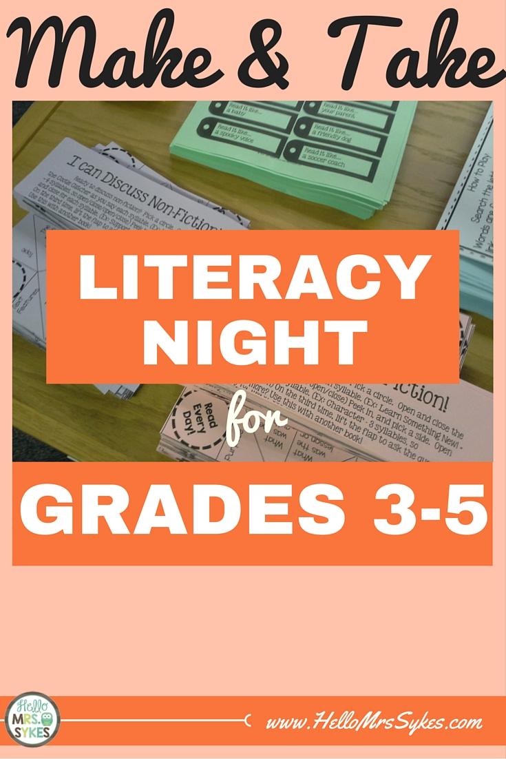 Make And Take Literacy Night Fun Parent Involvement Hello Mrs Sykes