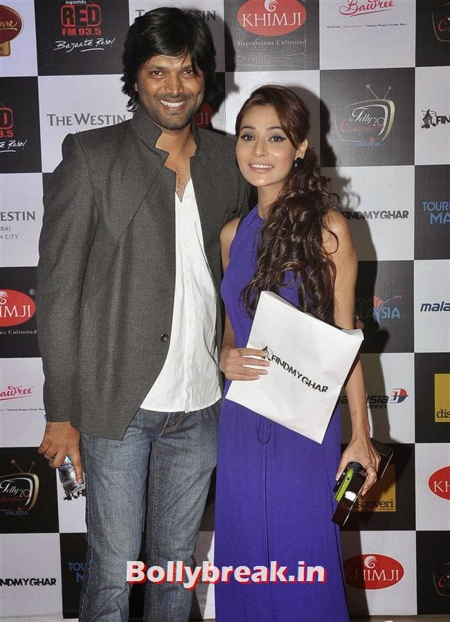 Anand Mishra with Sara Khan, Tv babes at Telly Calendar 2014 Launch