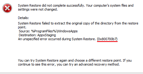 Fixing Error code 0x800700b7